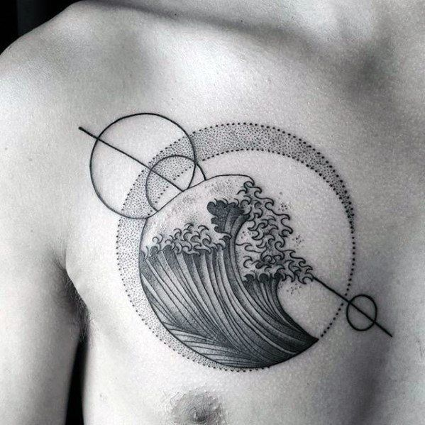 Geometric Upper Chest The Great Wave Circles Guys Tattoo Designs In 2020 Small Chest Tattoos Tattoos For Guys Chest Tattoo Men