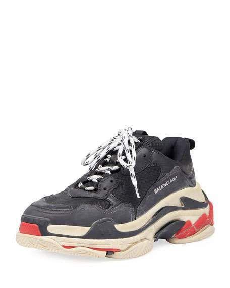 Balenciaga Mens Triple S Mesh  U0026 Leather Trainer Sneakers