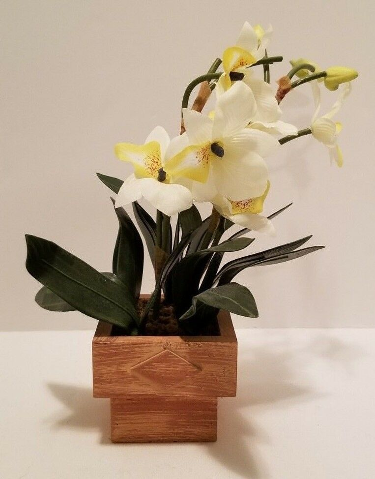 Artificial Faux Yellow & White Silk Orchid Flower Spray