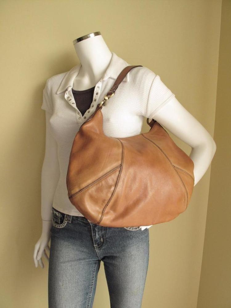 Designer Luce Tan Quality Leather Large Hobo Shoulder Bag Nice