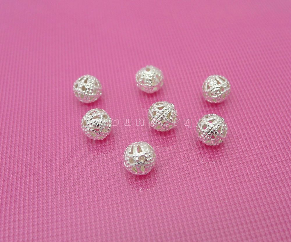 50 Pcs 6mm Silver Plated Flower Bead Caps Spacer for DIY Craft Bracelet Necklace