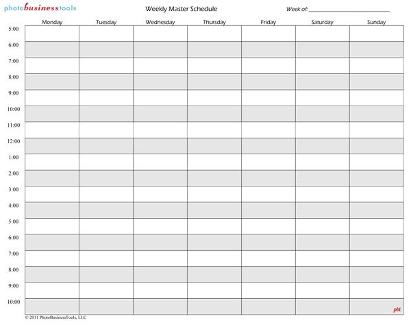 Weekly Master Schedule  Business    Master Schedule