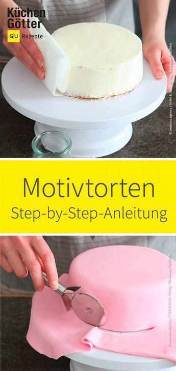 Hier findest du praktische Step-by-Step-Anleitungen für selbst gemachte #Motivtorten. #fondant