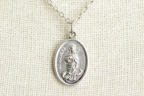 Saint Martha Medal Necklace  St Martha Necklace  Catholic Necklace