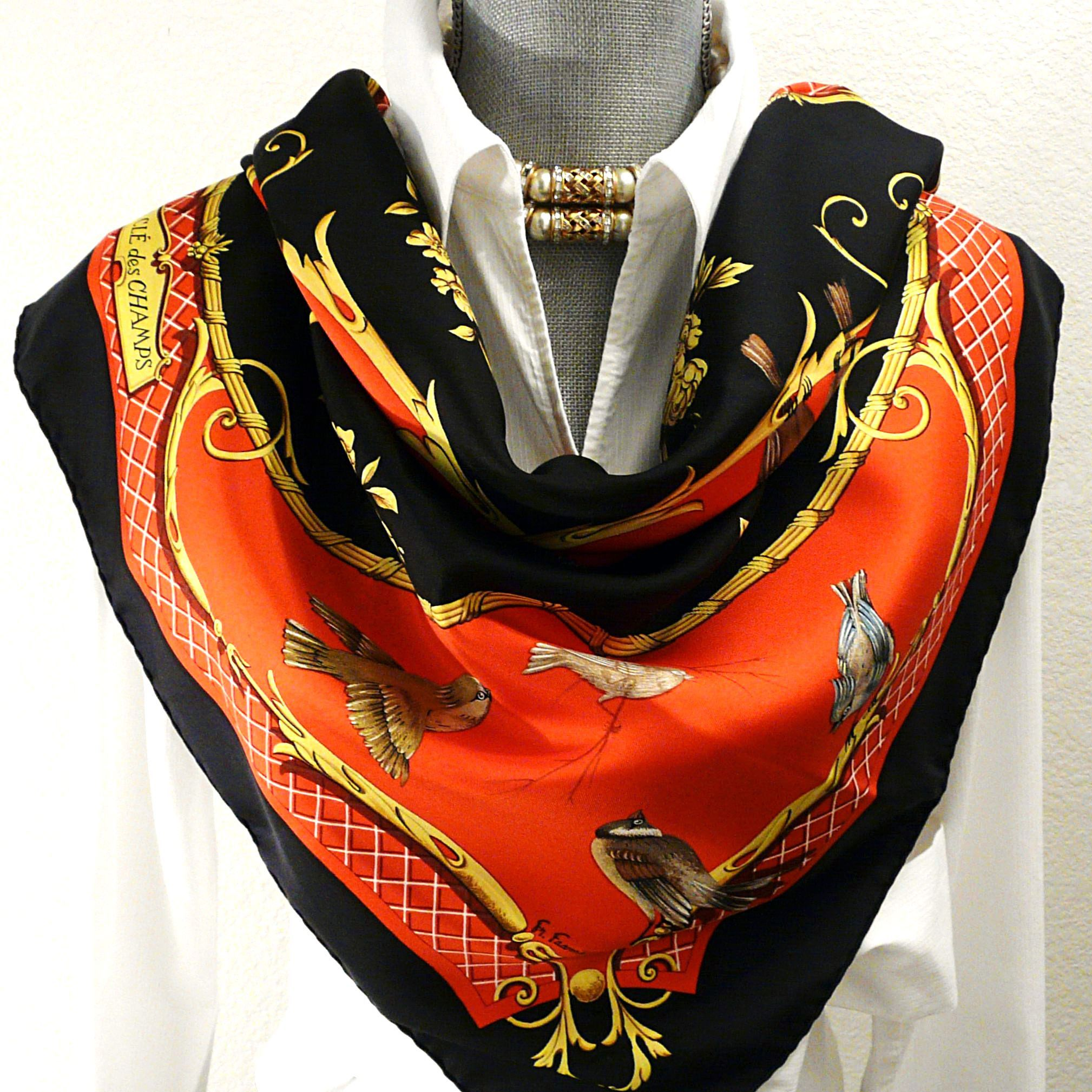 4e13f2e0d2cb Authentic Hermes Silk Scarf La Cle Des Champs Red and Black Rare ...