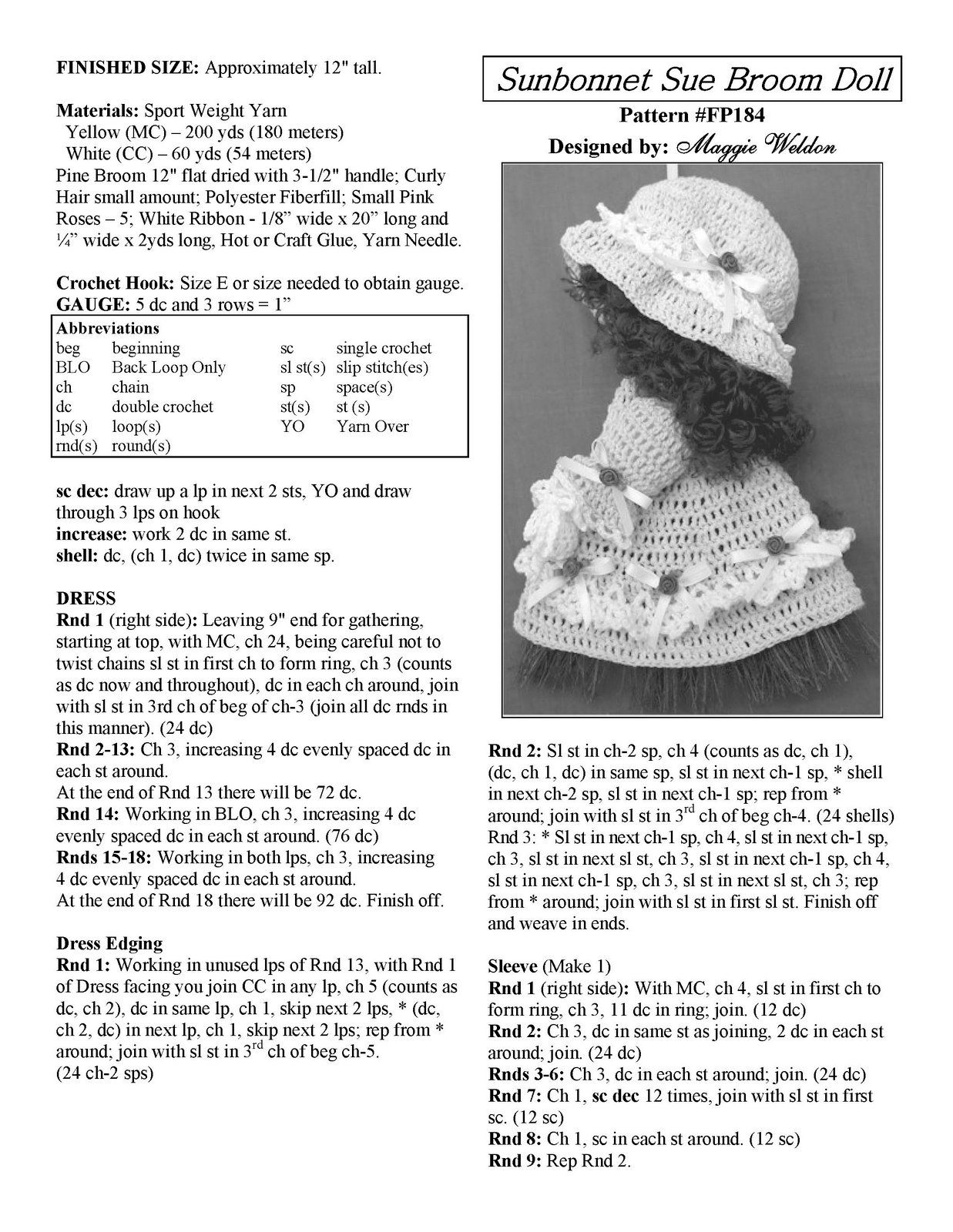 Free-Pattern-Maggie-Weldon-Crochet-Sunbonnet-Sue-Broom-Doll-FP184 ...