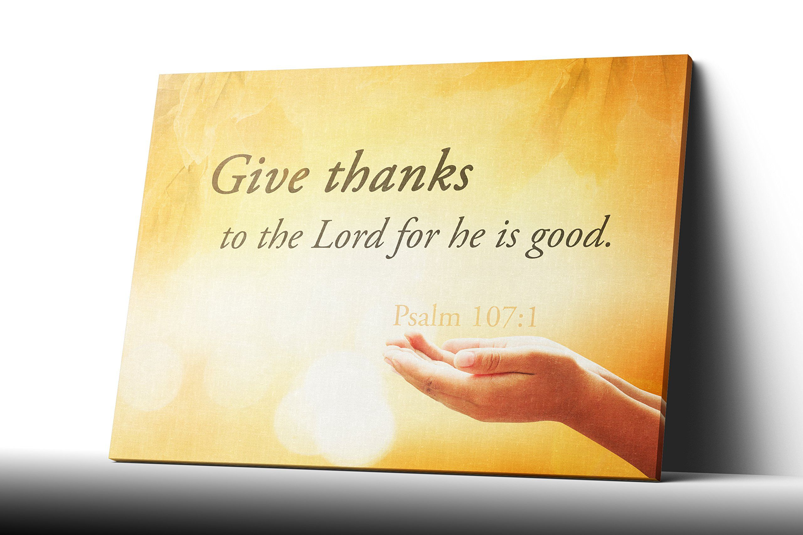 Give Thanks Psalm 107 Canvas Wall Art Quote Christian Religious Wall ...