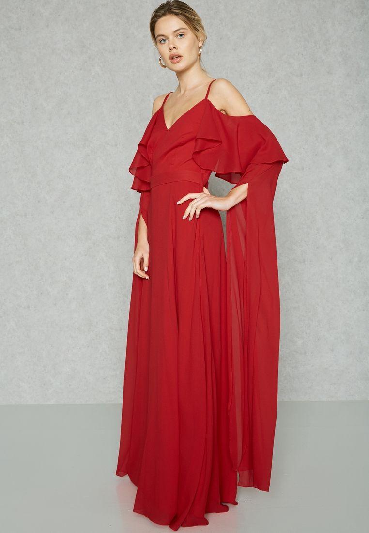 Buy Femi9 Red Ruffle Cold Shoulder Cape Dress For Women In Dubai Abu Dhabi Fs17 00000091 Dresses Cape Dress Party Dresses For Women