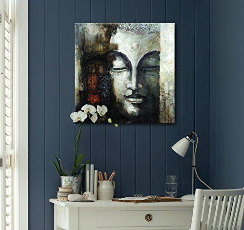 17 innendesign ideen wohnungsausstattung, seekland art hand painted large buddha face canvas wall art abstract, Design ideen