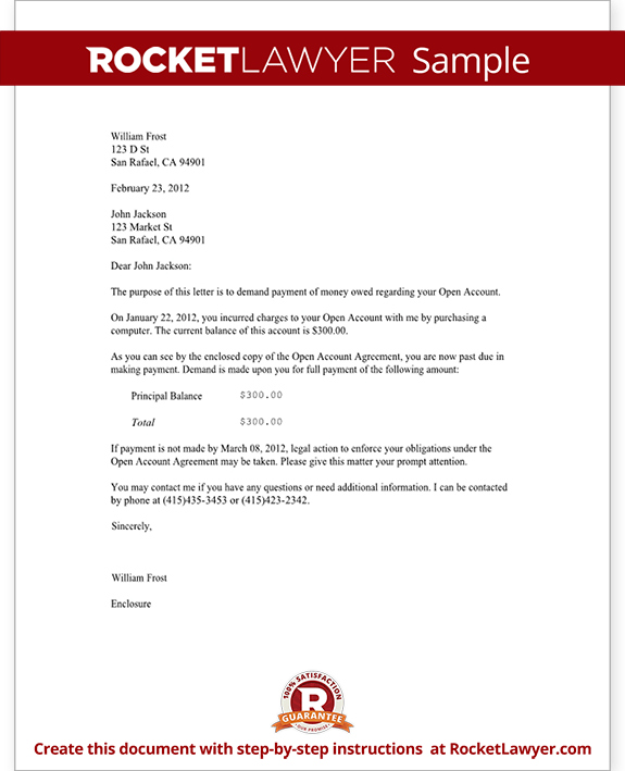 Demand Letter Template For Owed Money Claim Your Rocket Sample Complaint Free Letters