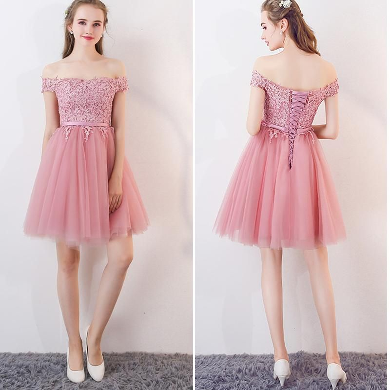 Pink Short Prom Dress For Teens Homecoming Semi Formal Gown ...