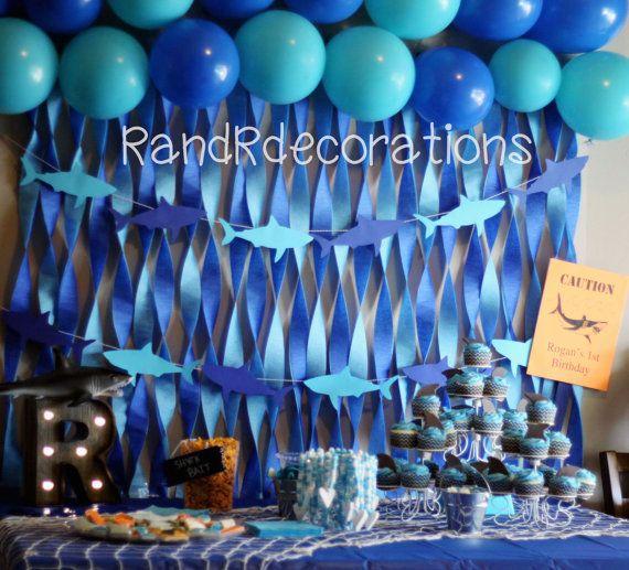 Shark Banner Birthday decorations Shark Cutouts Boy Birthday
