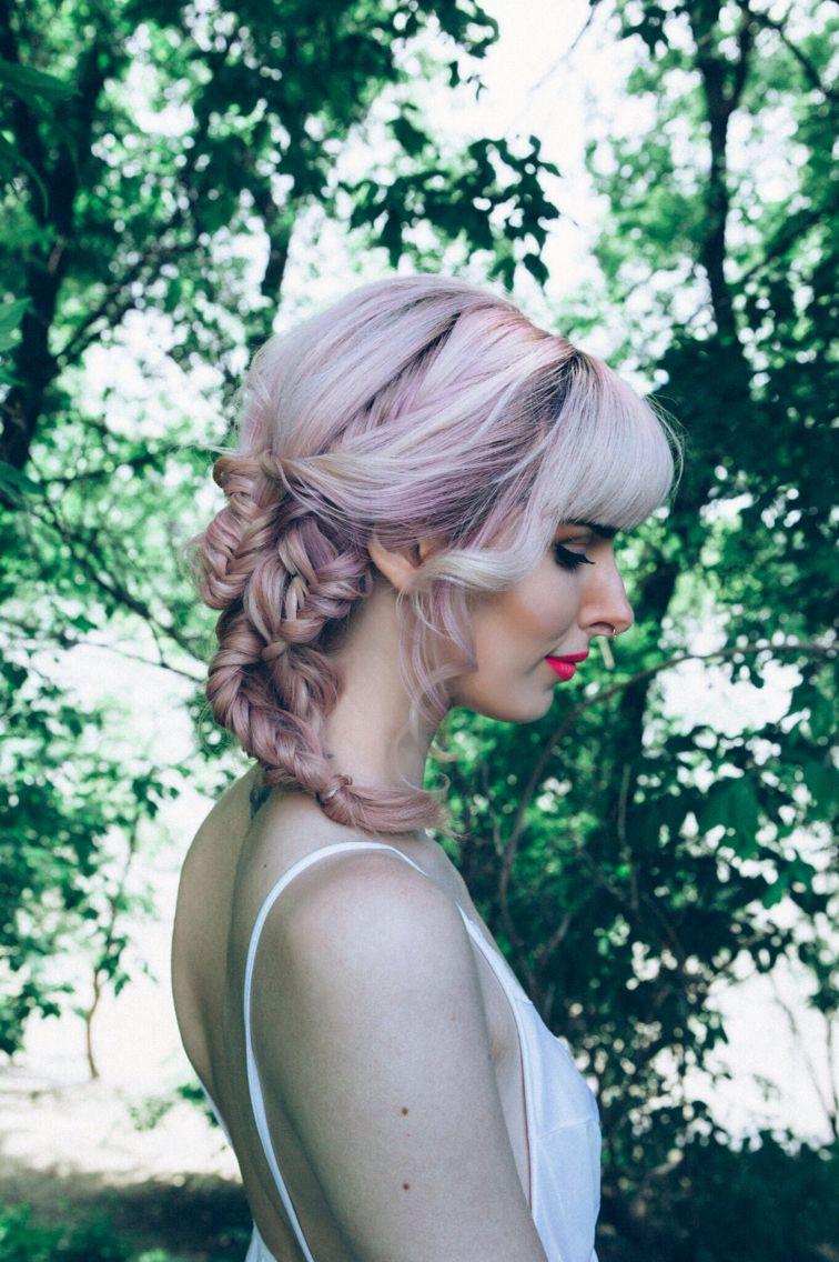Instagram @hairbymisskellyo  Photo by Teri Hofford Photography  pinkhair, fishtail braid , boho , forest, wedding hair , wedding, bride, bridesmaid hair, hippy, pravana, pastelhair, bluehair, tealhair, 2015 Summer hair trends, haircolour, behind the chair, hairstylist, colour trends, updo, hairstyle, bangs, flowercrown, modernsalon, beauty, balayage, bright hair, dyed hair, mermaidhair, mermaid, unicorn hair, my little pony