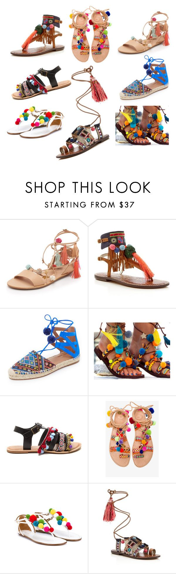 """Pom Pom Spring Sandals"" by andrea-jueong ❤ liked on Polyvore featuring Loeffler Randall, Sam Edelman, Aquazzura, Elina Linardaki, Spring, shoes and sandals"