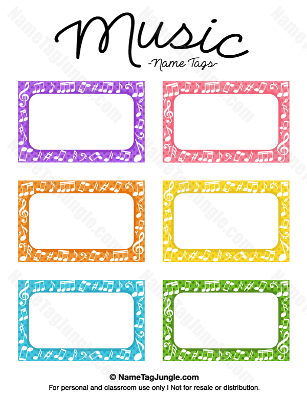 Free printable music name tags the template can also be for Preschool name tag templates