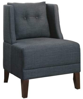 Poundex Bobkona Prissy Accent Chair In Blue Gray