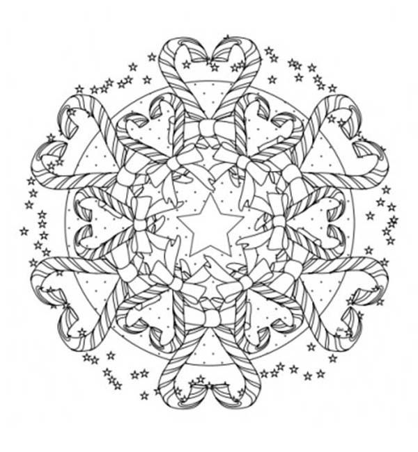Christmas Mandala, : Mandala Christmas Candy Cane Coloring Pages ...