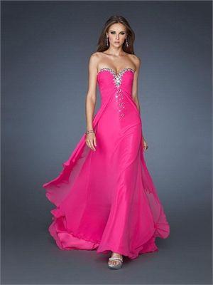 Strapless Beaded Sweetheart Long Chiffon Prom Dress PD2429