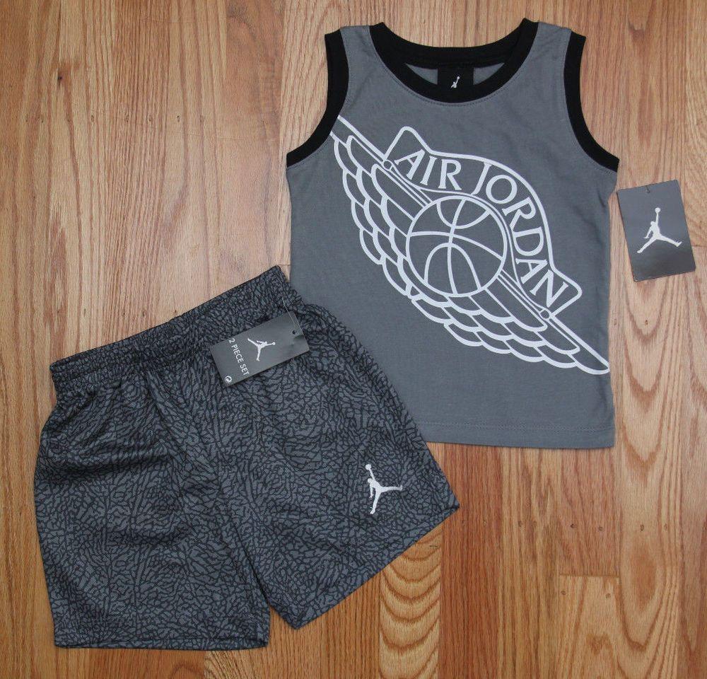 size 40 c4f38 221f4 Air Jordan Baby Boy 2 Piece Tank   Shorts Set ~ Gray   Black ~ Basketball ~   Jordan  Basketball  Jumpman