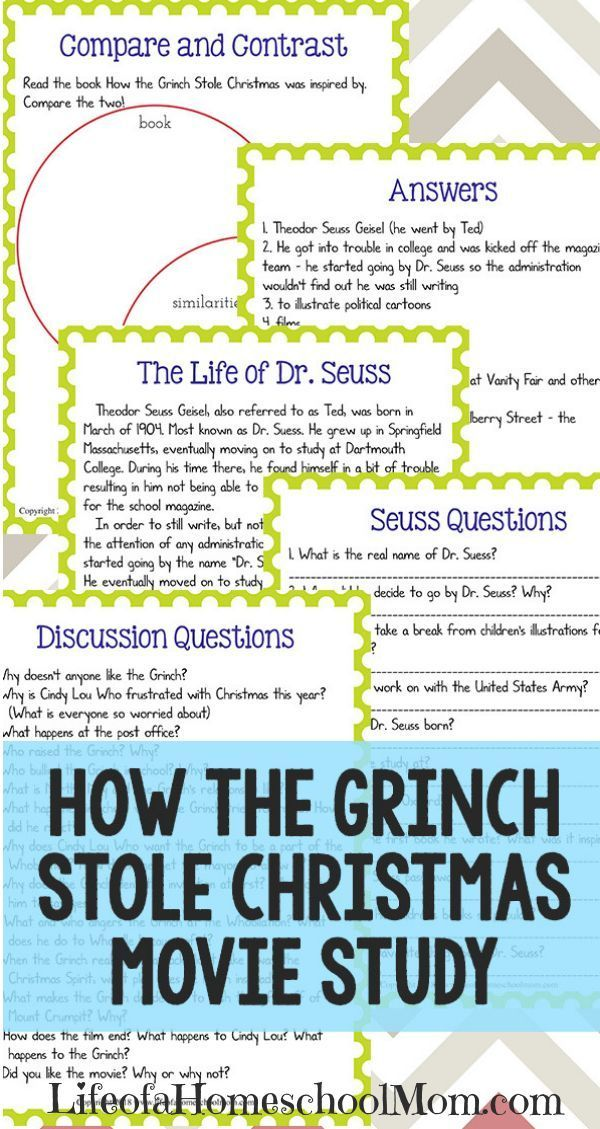 How The Grinch Stole Christmas Unit Study Homeschooling