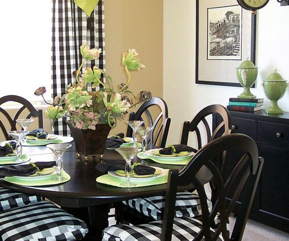 Black And White Dining Room Chairs: Black & Green Dining Room... Buffalo Check On Chairs