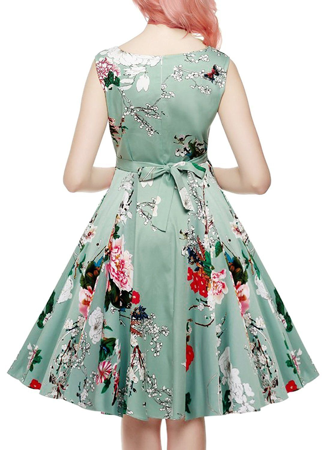 Ihot Vintage 1950s Floral Spring Garden Party Picnic Dress Party Cocktail Dress For Women Light Gre Spring Fashion Dresses Vintage Tea Dress Floral Party Dress [ 1500 x 1100 Pixel ]