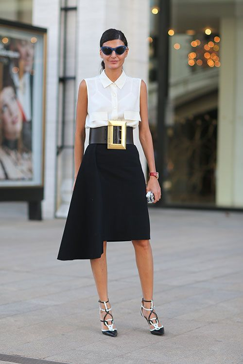 5e4517249a Giovanna Battaglia makes a black + white statement in Céline pinned here  via Harpers s Bazaar I sometimes find the street style of New York Fashion  Week to ...