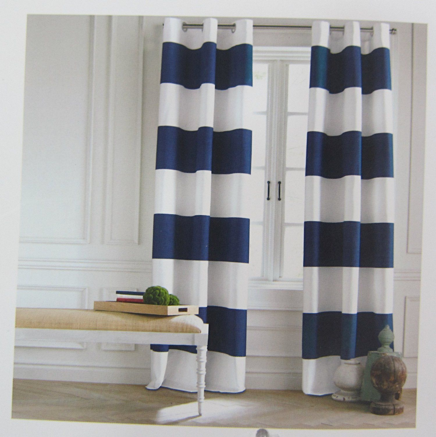 Great Tommy Hilfiger Cabana Stripe Curtains 2 Panels 50 By Eyelet Heading Modern  Window Drapes Cotton 2 Panels Grommet Top Navy Blue White Wide Stripes