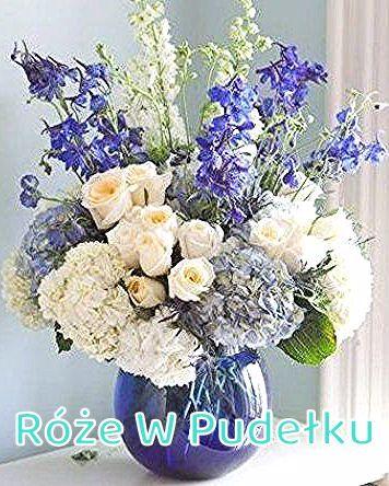 Kompozycja w odcieniach blekitu na przyjecie komunijne dla chlopca   Blue flower arrangement  #kwiaty #komunia #niebieskakompozycja