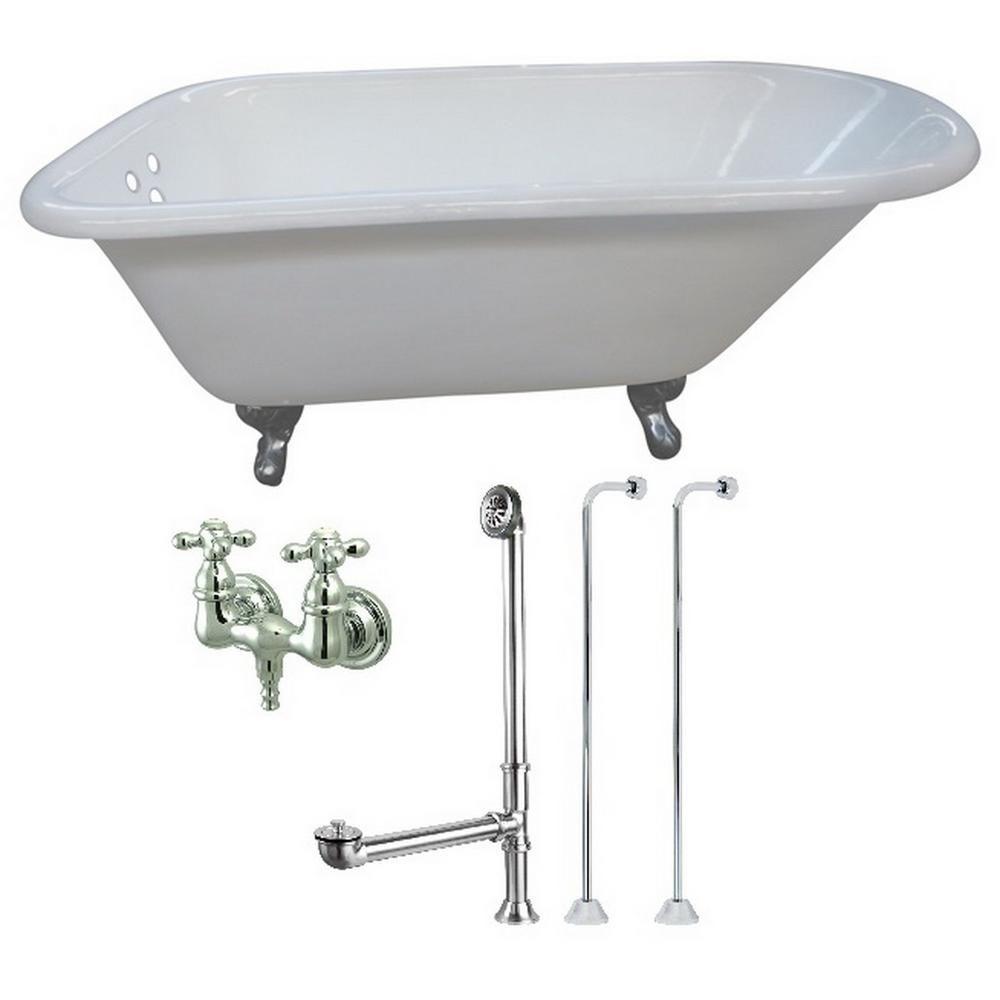 Aqua eden petite ft cast iron clawfoot bathtub in white and