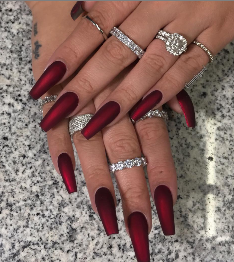 60 Trendy Burgundy Acrylic Coffin Nails Design You Should Try Coffin Nails Designs Coffin Nails Long Coffin Nails Matte