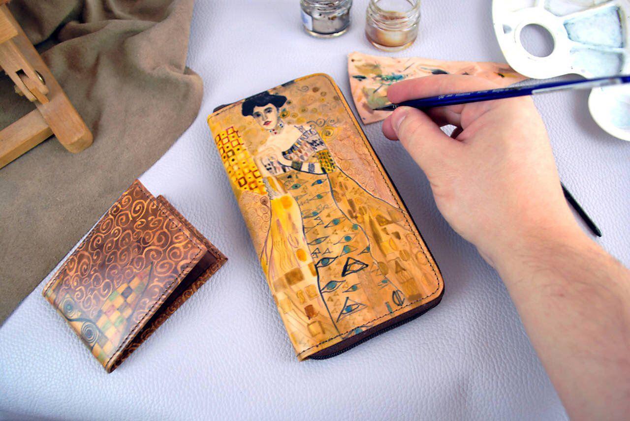 Gift for women, handpainted wallet, Gustav Klimt theme