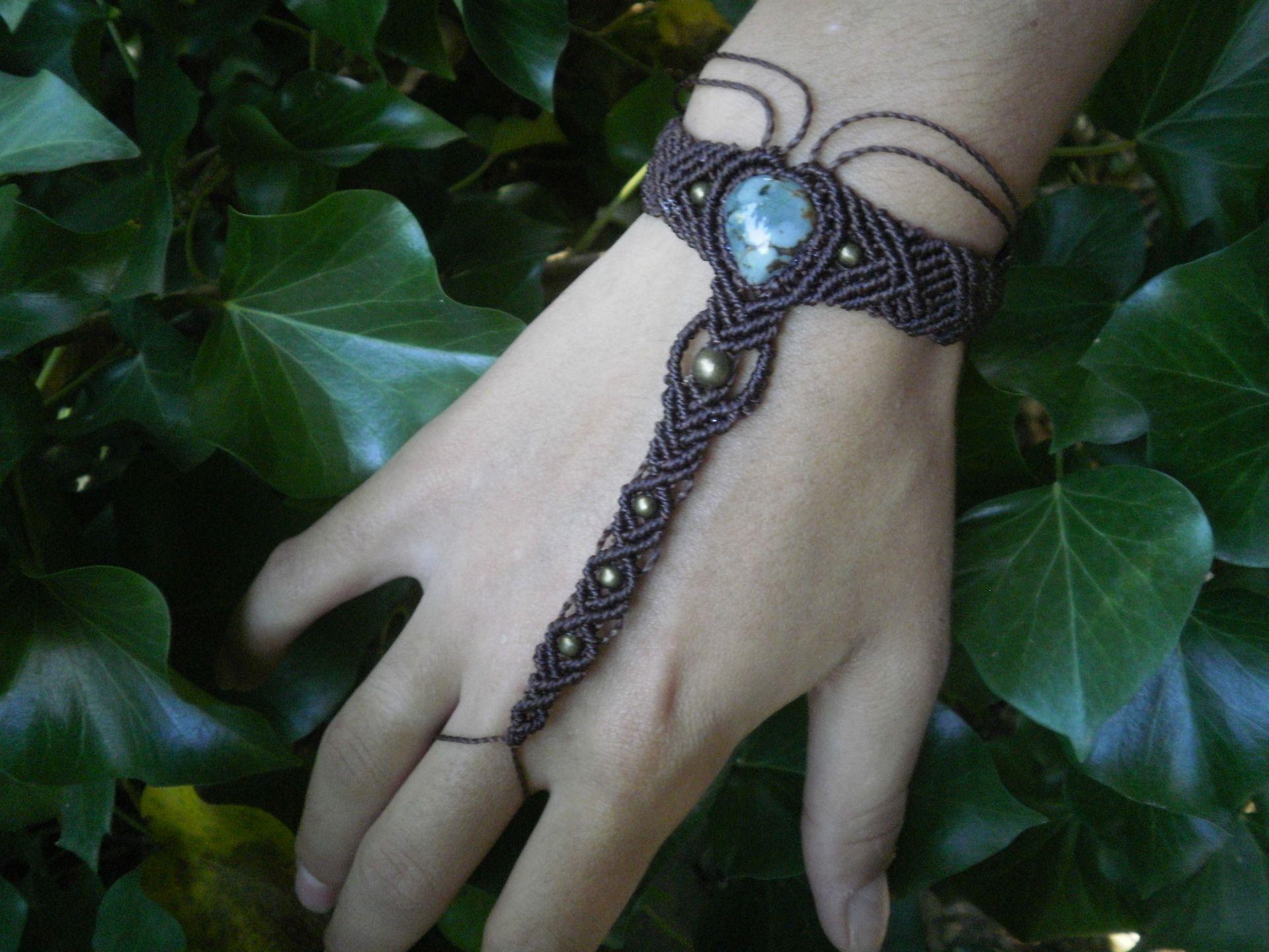 Bracelet bague / Bijou de main tribal pierre de jaspe macramé marron et  bronze  Bracelet
