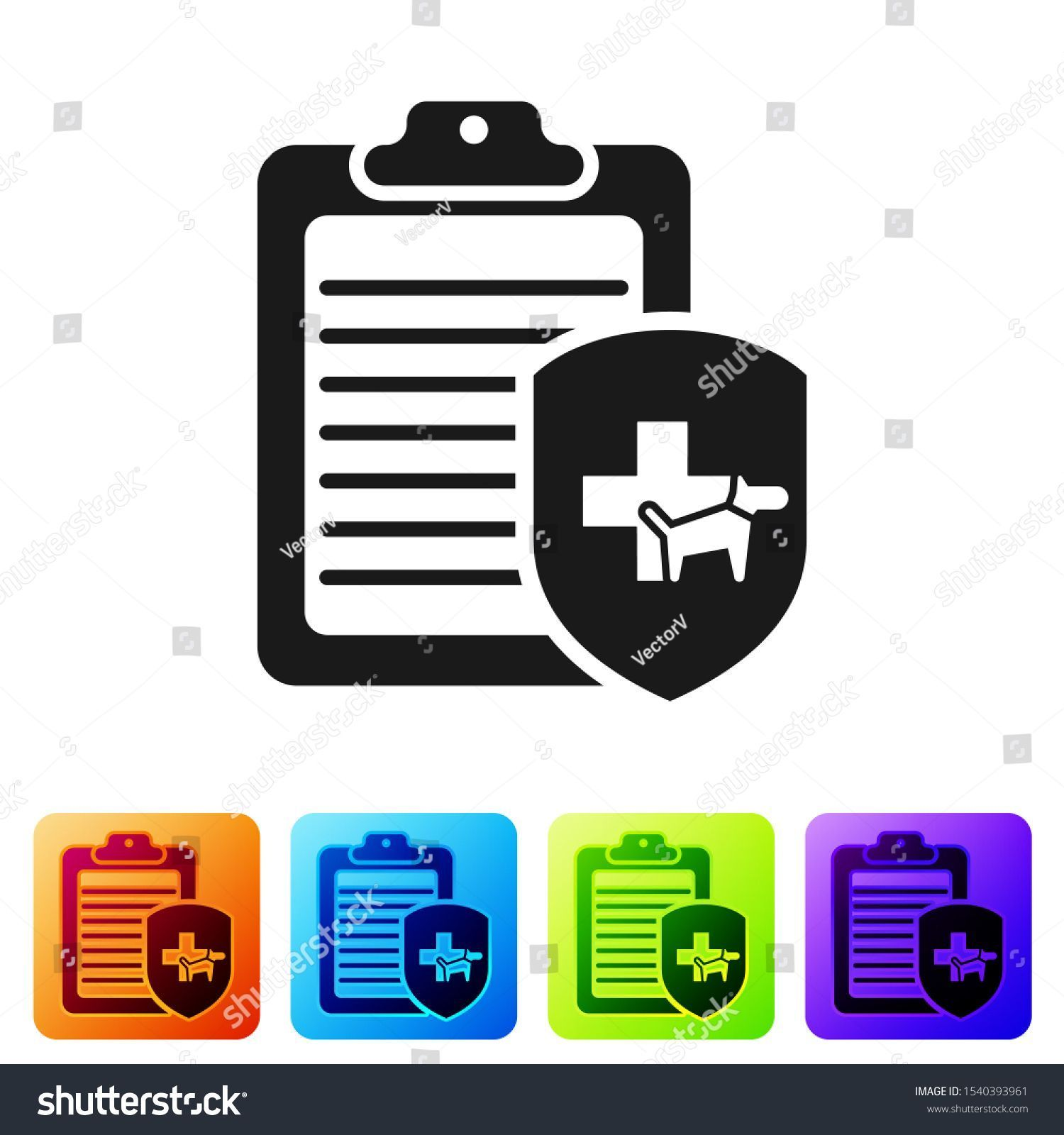 Black Clipboard With Medical Clinical Record Pet Icon Isolated On