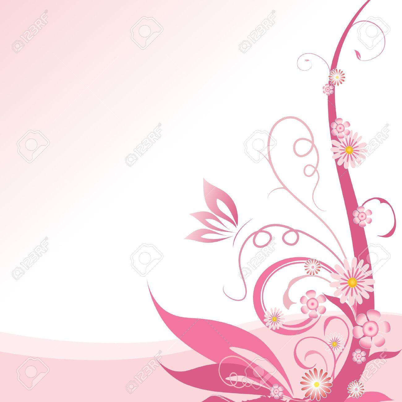 Pink Floral Corner Design Element Stock Vector Pink