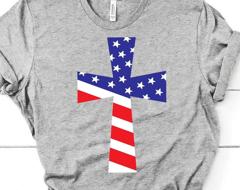 4th of July Cross Svg, American Flag Cross Svg, Patriotic