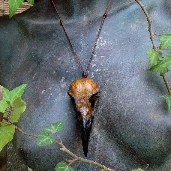 Crow skull replica necklace by ArtofElorhan on Etsy