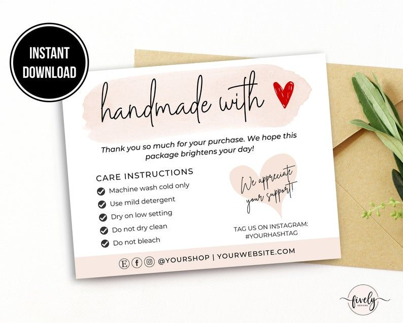 Handmade With Love Card Care Instructions Template Thank You Etsy In 2021 Business Thank You Cards Thank You Card Template Bakery Business Cards Templates