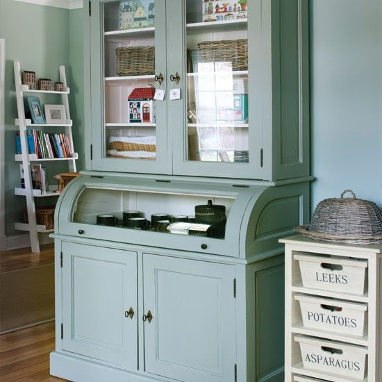 Amazing Country Kitchen Storage Using A Vintage Dresser Painted The Same Color As  The Walls. Love