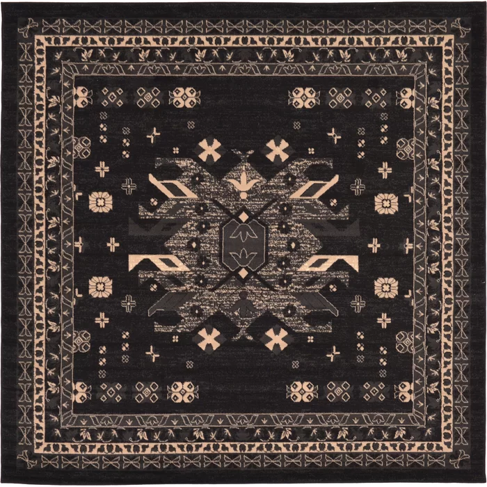Mattea Southwestern Black Area Rug Unique Loom Square Area Rugs Square Rugs