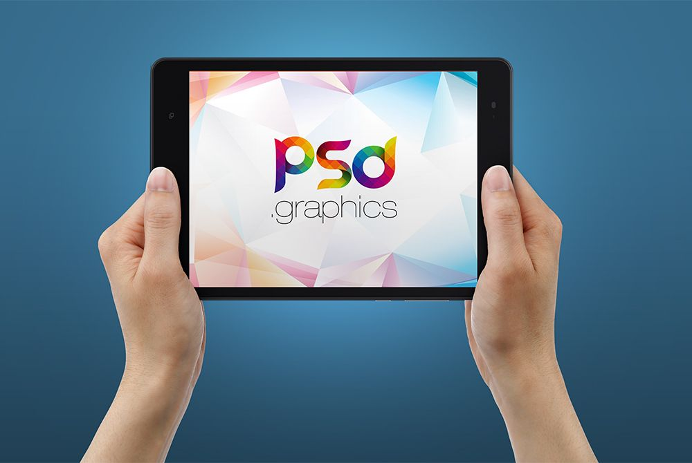 Awesome tablet in hand mockup free psd download tablet