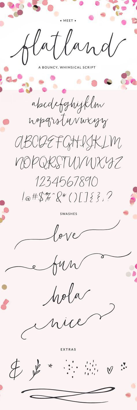 Flatland font | A bouncy, whimsical script font with a modern calligraphy … #bouncy #a #flatland #modern #type #skr …
