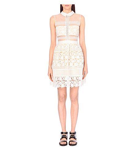 ab504b6da61b SELF-PORTRAIT Embroidered Sheer-Panel Dress. #self-portrait #cloth #dresses