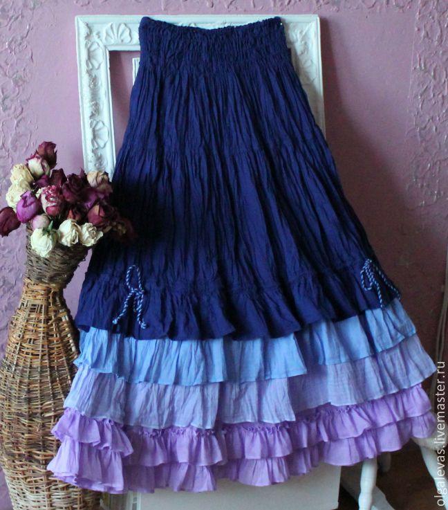 Купить Юбка Бохо длинная хлопковая Цветные сны. - тёмно-синий, юбка длинная