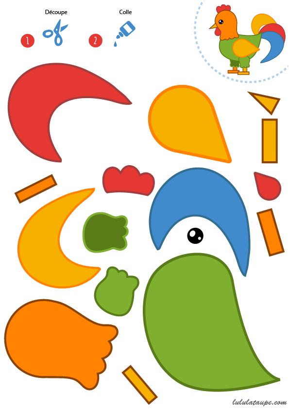 D coupage et collage d 39 un coq enfants de maternelle ferme d coupage maternelle maternelle - Image de coq a imprimer ...