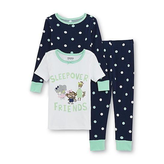 bc67362bf23ab WonderKids Toddler Girl's Graphic Pajama T-Shirt Top & Pants - Zoo Animals
