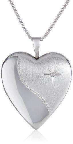 "Sterling Silver Diamond Heart Locket Necklace, 18"" V"