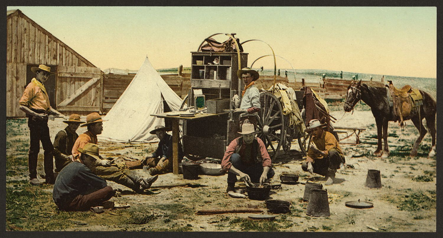 """Colorado. The round up, """"grub pile"""". Photochrom by Detroit Publishing Company, between 1898 and 1905.http://hdl.loc.gov/loc.pnp/ppmsca.17869"""