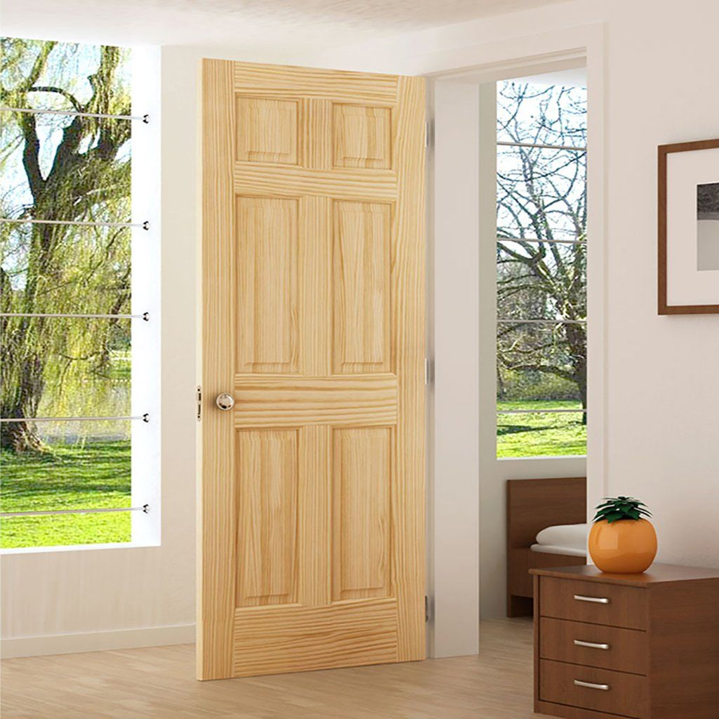 Solid Wood Core Interior Door 1 3 8 In Thick Double Hip Panels Suitable For Staining Or Paint Doors Interior Colonial Style Interior Wood Doors Interior