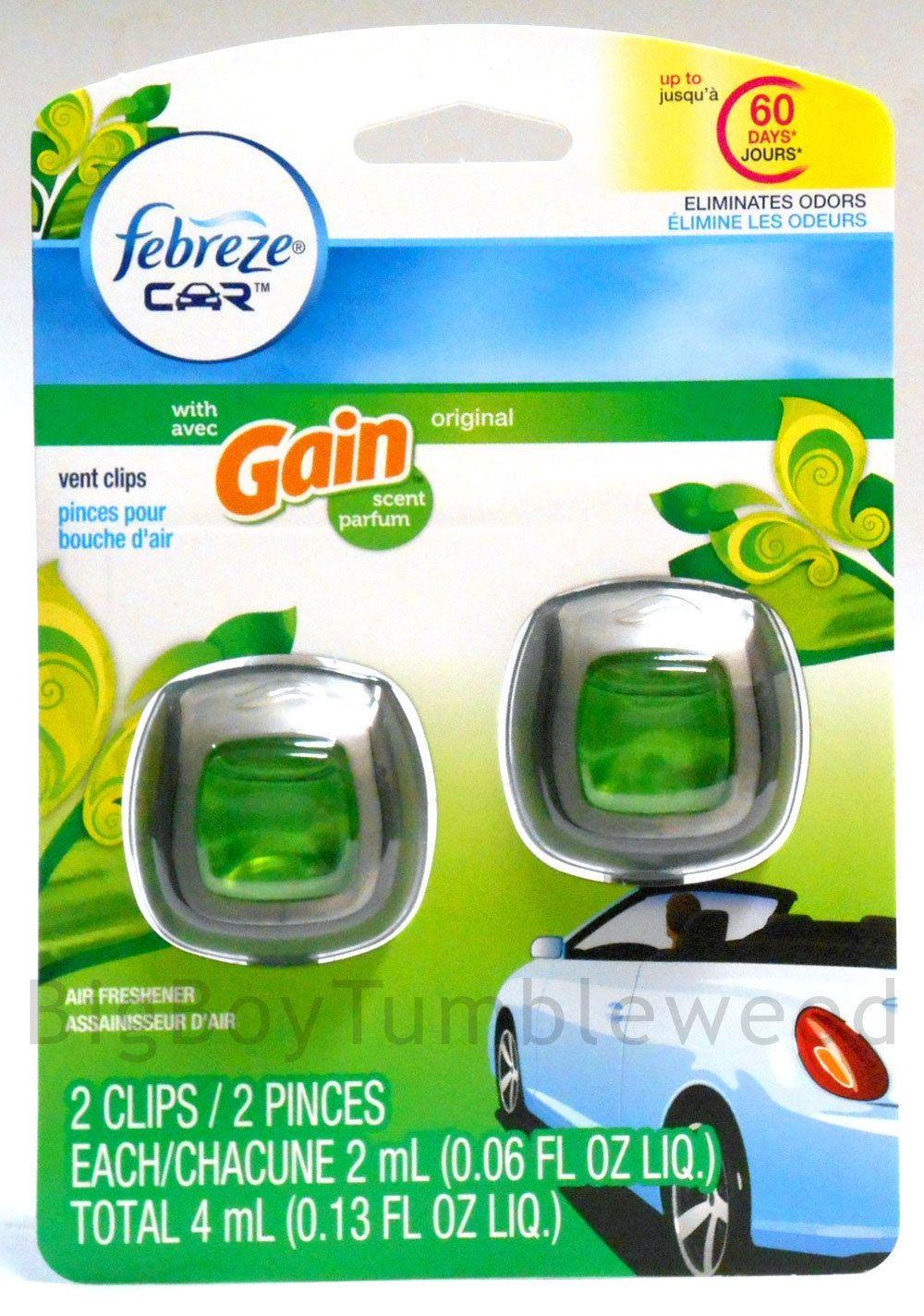 Febreze car gain laundry detergent scent vent clips rv truck air freshener linen febreze car